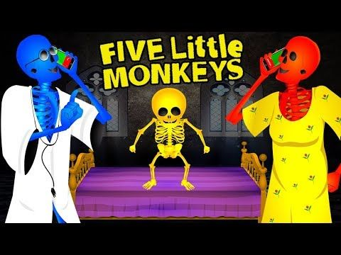 (43) Skeleton Dance | Five Little Monkeys Jumping On The Bed | Skeleton Burger Finger Family Rhymes - YouTube