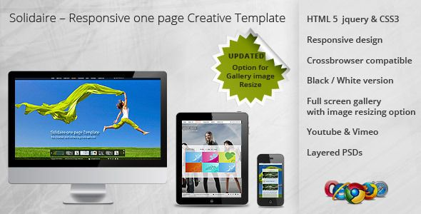 Solidaire – Responsive one page Creative Template   http://themeforest.net/item/solidaire-responsive-one-page-creative-template/2689291?ref=damiamio          This Solidaire one page Creative template is suitable for creative portfolio, fashion and corporate base website. This template is very simple look and contrast. It looks great in Desktop, Tablet and Mobile device.  Both dark and light versions are available in download file. It's very easy to change the template color by editing a…