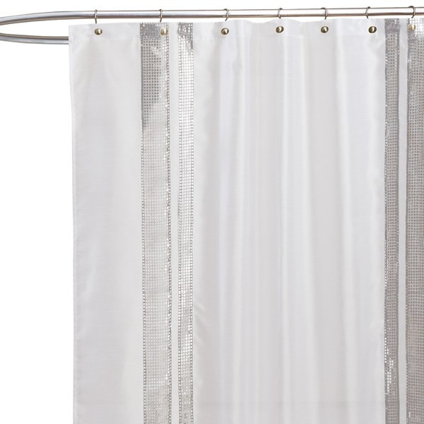 Jewel White Fabric Shower Curtain   Bed Bath U0026 Beyond. White Fabric With  Silver Sequins