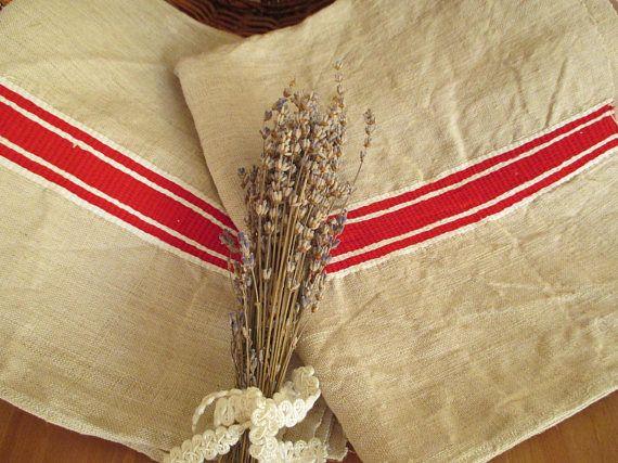 230. Flax linen towel vintage organic linen towel hand