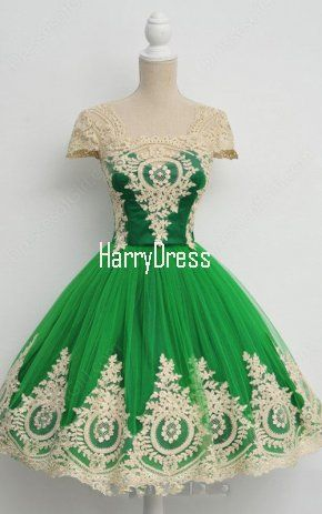 Green Nude Ball Gown Sleeveless Tea Length Square Neckline Tulle Appliques Lace Short Homecoming Dress