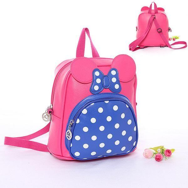 Children School Bags for Kindergarten Girls PU Leather Bag Kids Backpacks Baby Cute Bow Dot Backpack High Quality Rucksack A0304