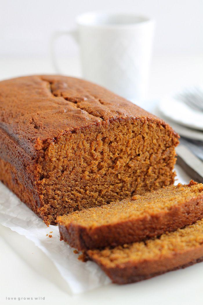 This pumpkin bread recipe will knock your socks off! Moist, sweet, and full of pumpkin flavor! | LoveGrowsWild.com...w/almond milk