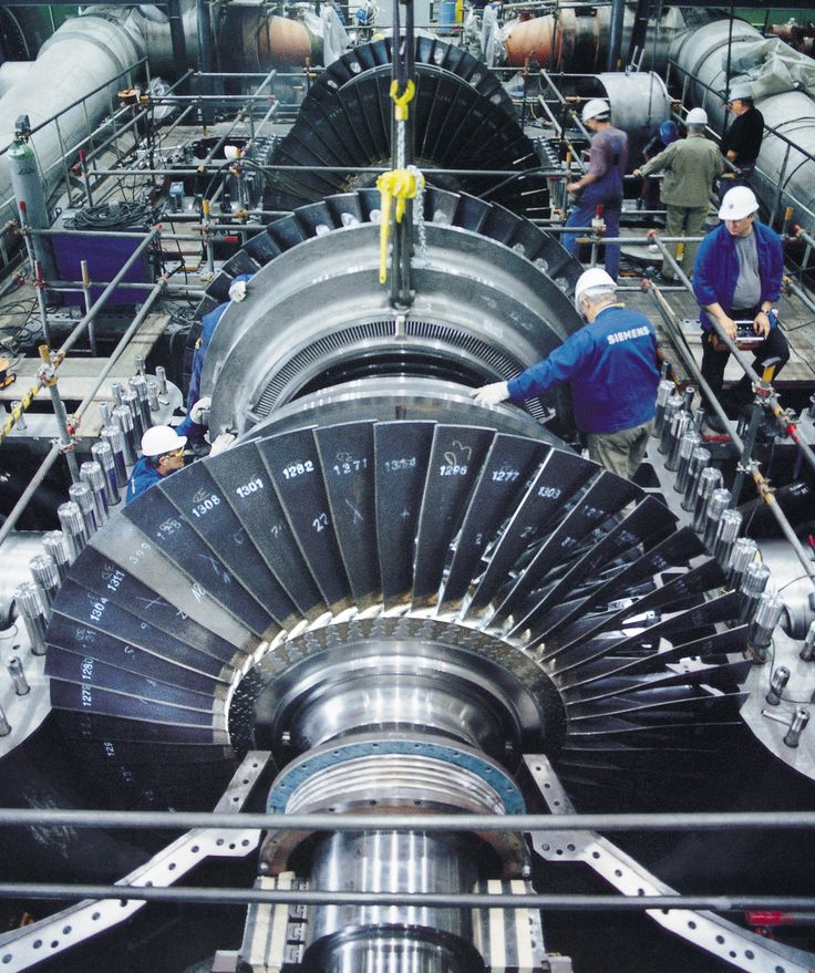 A steam turbine with the case opened. Most electricity is produced by thermal power stations with turbines like this one. [1779x2126]