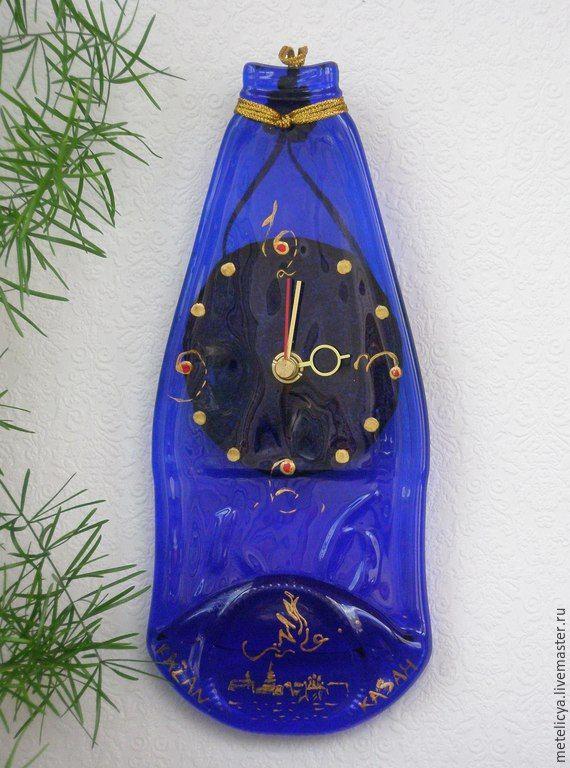 Купить Часы настенные Казань - синий, стеклянная бутылочка, настенные часы, декор интерьера