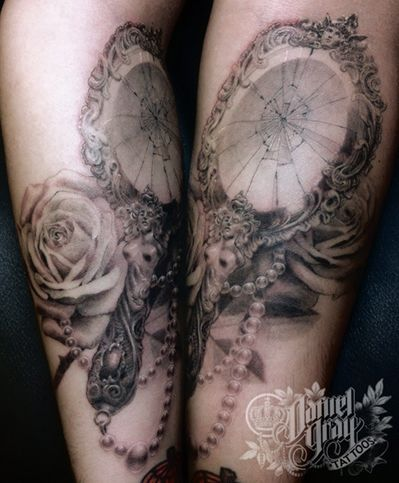 Mirror tattoo, broken mirror, roses, tattoo idea, girl tattoo