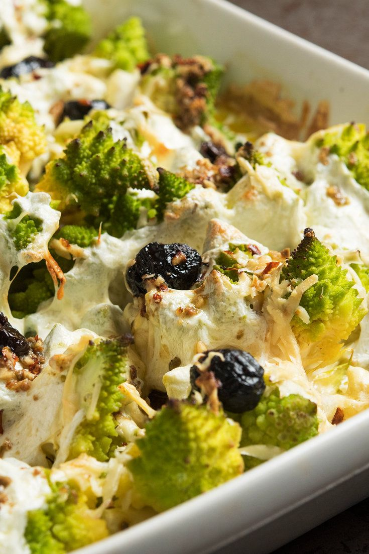 Baked Romanesco Broccoli With Mozzarella and Olives Recipe - NYT Cooking  #Romanesco