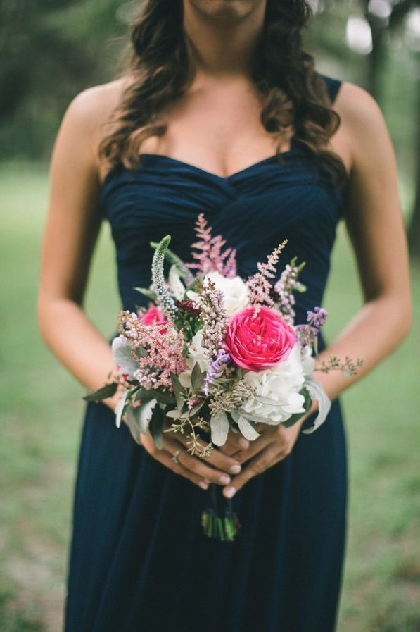 Navy bridesmaid dress with wildflower dress.