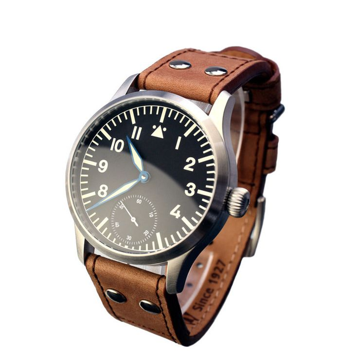 Stowa Flieger Handwinding 6498 with small second - strap in old style, brown