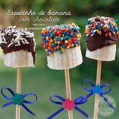 Banana Pops - Espetinho de banana com chocolate - Dicas de Como fazer - Passo a Passo - photo tutorial  and tips- Recipe - DIY - Madame Criativa www.madamecriativa.com.br