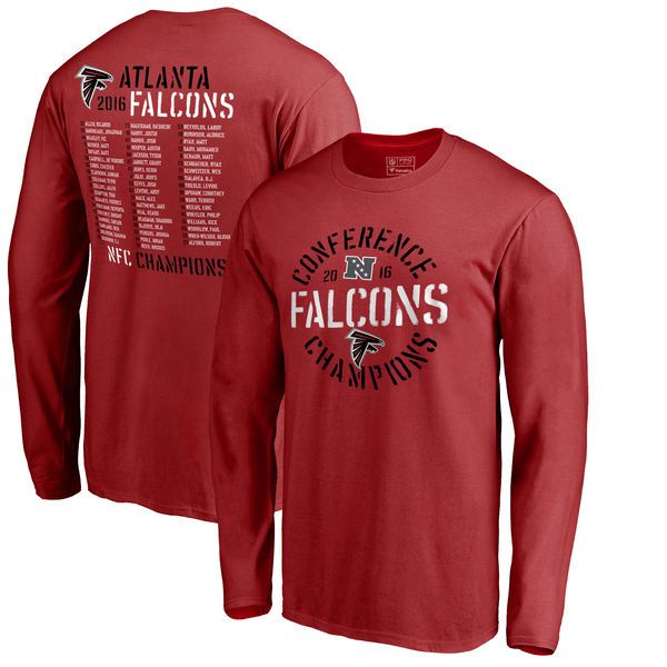 Atlanta Falcons Pro Line by Fanatics Branded 2016 NFC Conference Champions Roster Long Sleeve T-Shirt - Red - $26.99