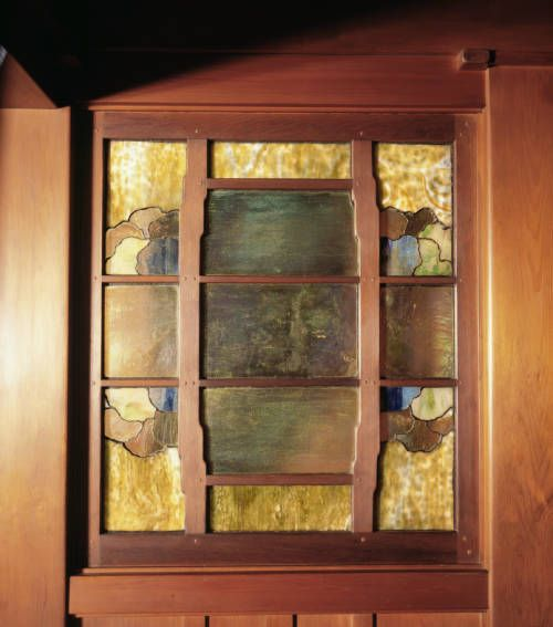 Art-glass window in cedar frame at foot of attic stairs. http://digitallibrary.usc.edu/cdm/ref/collection/p15799coll61/id/713