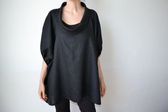 Black linen womens smock top tunic. Plus size. Maternity. Womens linen clothing. One size fits all. on Etsy, $180.00