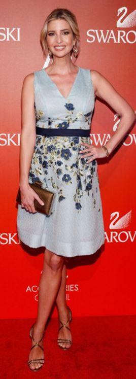 Who made Ivanka Trump's brown sandals, clutch handbag, and blue floral dress?