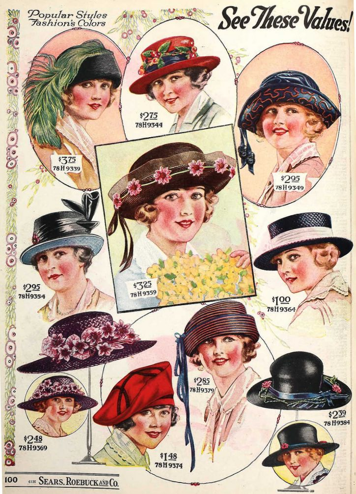 Sears Roebuck catalog advertisment for ladies hats, ck out the prices