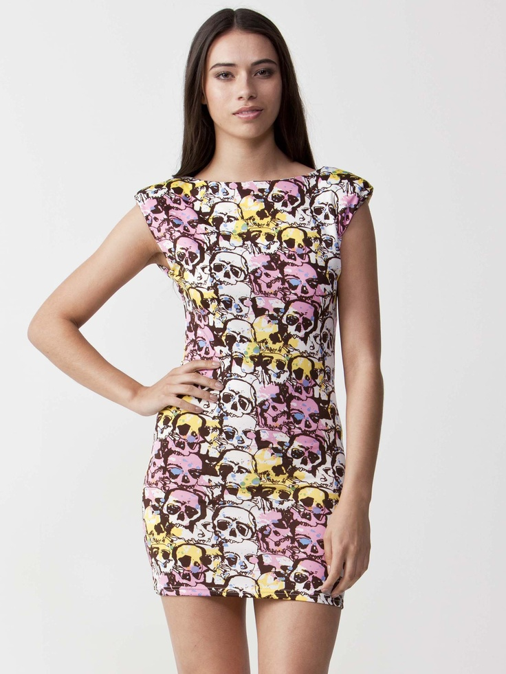 Sandra - Skull Print Dress with padded shoulders. Bodycon styling and sleeveless design. Regular fit cut. $61.60