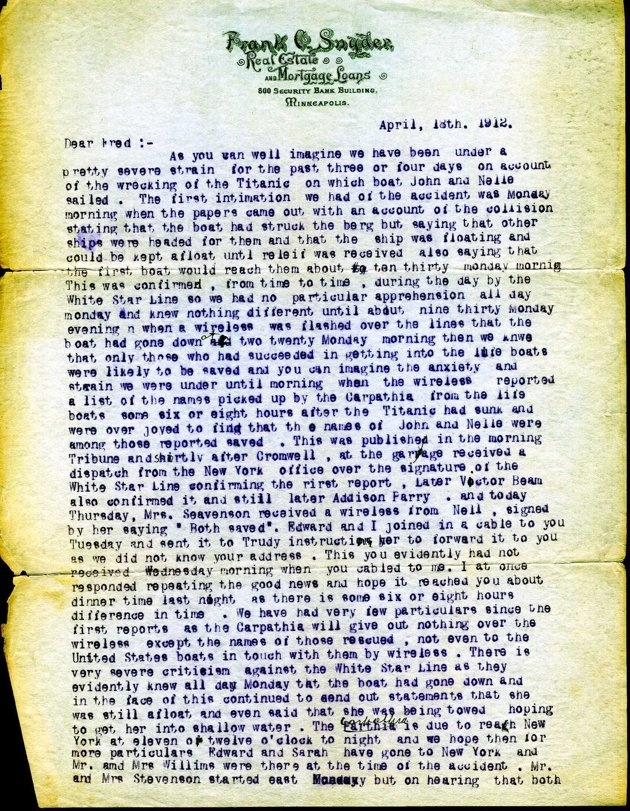 Letter from Frank Snyder to his brother Fred about John & Nellie Snyder, who were survivors of the Titanic. Dated April 18, 1912 Page 1 of 2