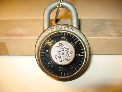 Image detail for -ANTIQUE VINTAGE ORIGINAL MASTER LOCK CHAMP COMBINATION BICYCLE PADLOCK ...
