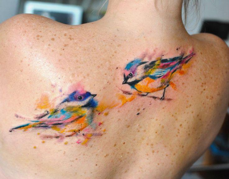Cute Watercolor Birds Tattoo On Upper Back