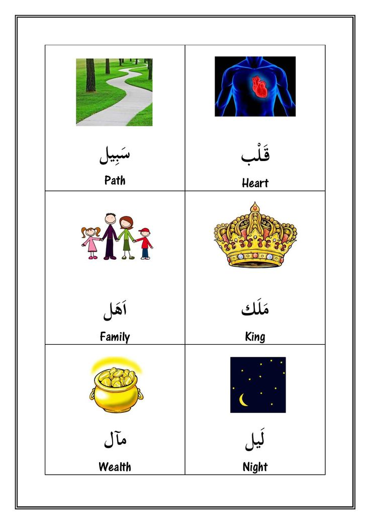 Illustrated nouns from the Qur'an  Free pdf at www.arabicadventures.com