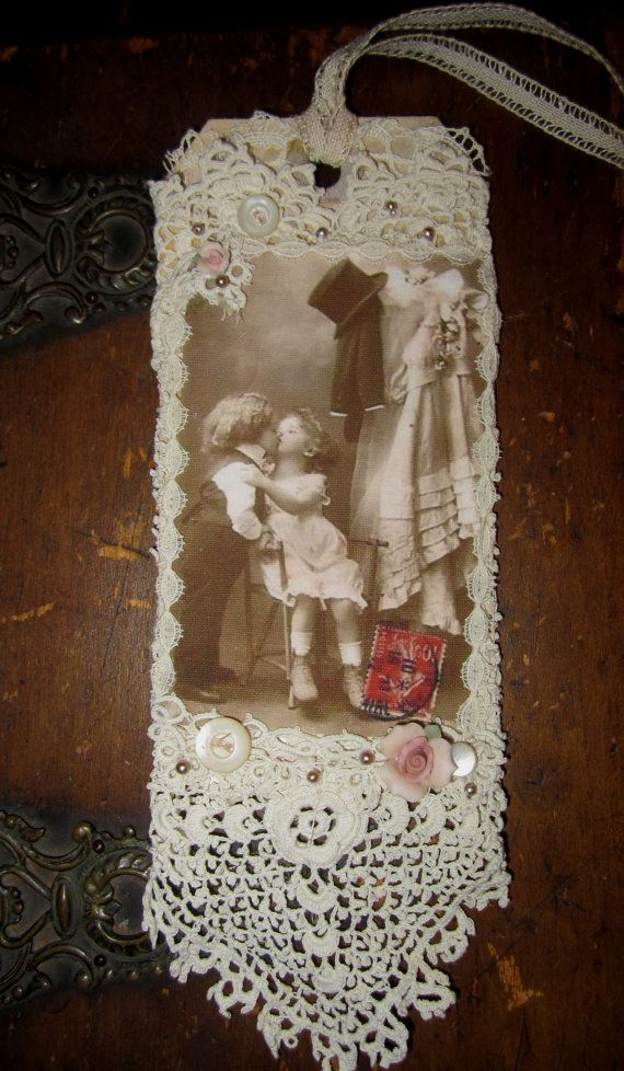 Vintage Lace Collage Embellished Tag  Vintage by sweetinspirations