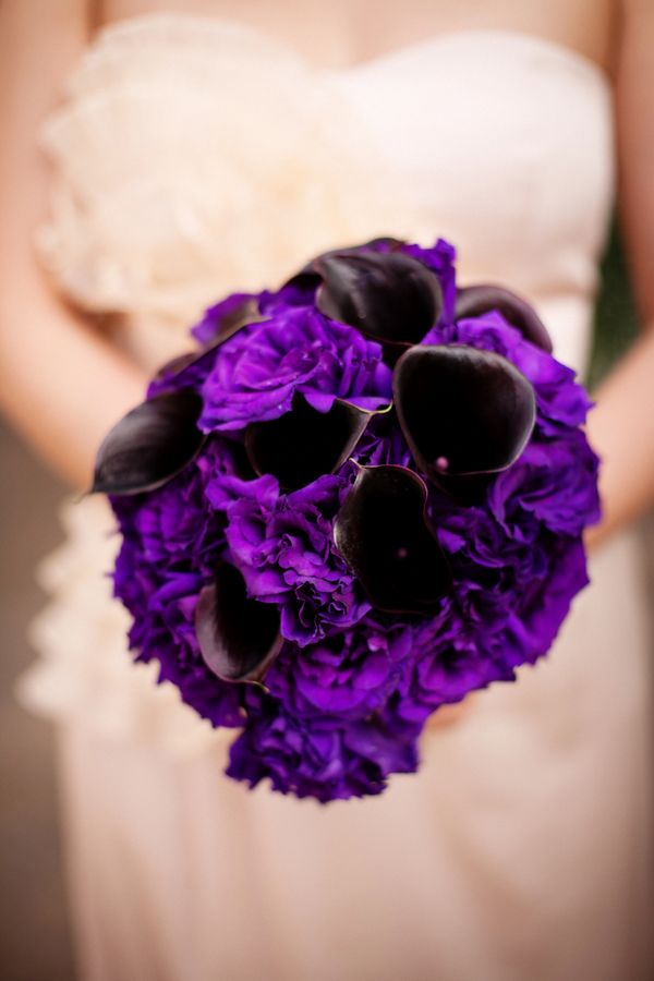 Deep purple wedding bouquet - might look black, but still bright purple in it