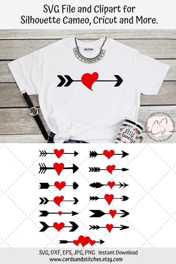 Valentine Heart Arrows Svg And Clipart Great For Cricut And Silhouette Machines Heart With Arrow Cricut Valentine Svg Files