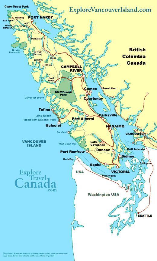 TRAVEL MAP VANCOUVER ISLAND British Columbia Canada