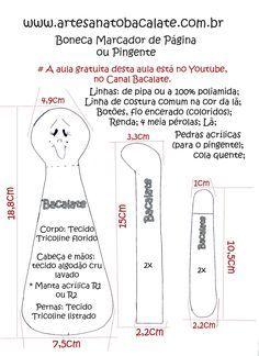 Como fazer Boneca Marcador de Página ou Pingente - DIY, artesanato ~ BACALATE