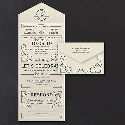 Get an Art Deco look at an affordable price with this ecru shimmer seal 'n send wedding invitation. Choose the ink color that matches your style. #Invitations