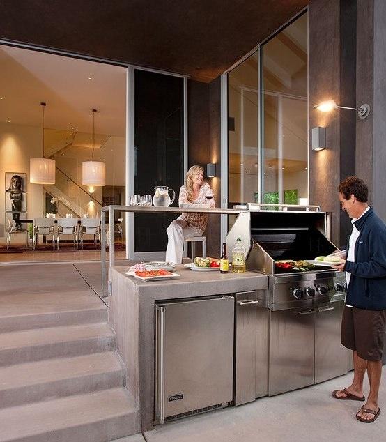 polished concrete waterfall grill island design on patio- SantaTeresita LoriSmyth design