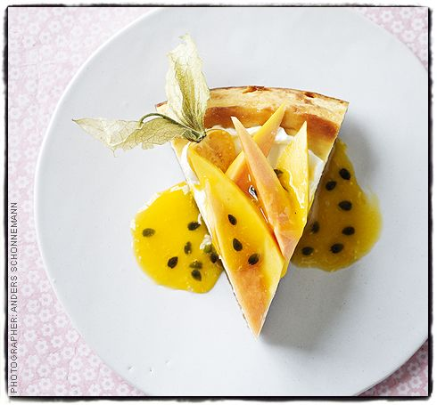 Passionfruit, mango and lime cheesecake