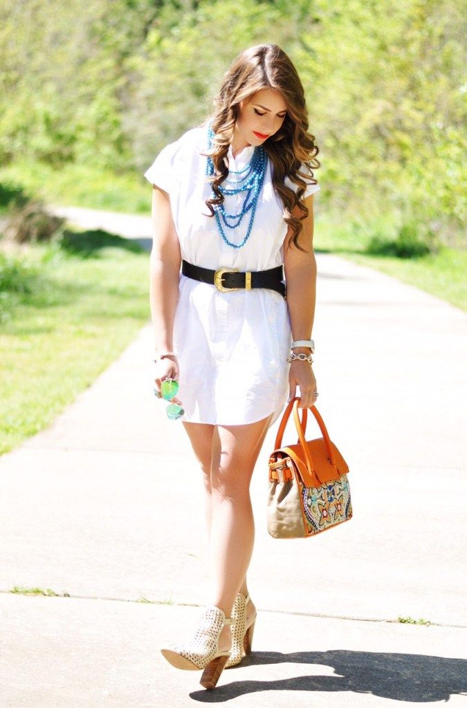 the t-shirt dress, the perfect t-shirt dress, boyfriend shirt dress, white dress, turquoise jewelry, turquoise and orange fashion, sam edelman embroidered purse, embroidered purse, ditto.com, ditto sunglasses membership, kristin cavalari wedges, green rayban sunglasses, spring fashion, spring outfit ideas, spring outfit inspo