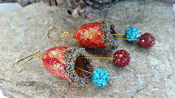 Silk cocoon dangle earrings lightweight boho earrings