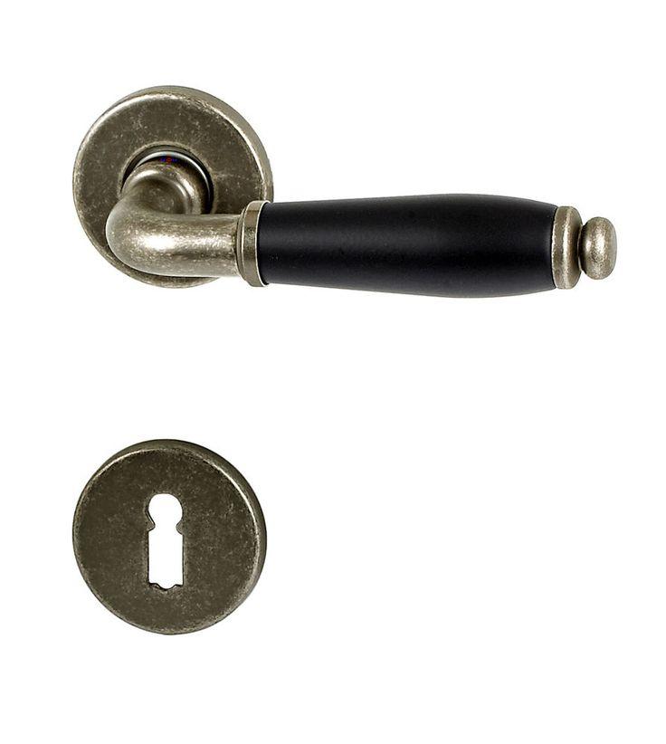 Türbeschlag FI-1112 Antik - Schwarz R Drückergarnitur Türdrücker Türbeschläge