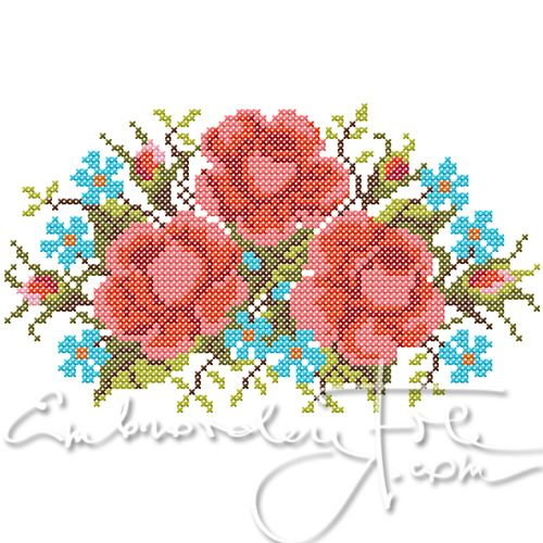 Cross stitched roses. The design is made of 2.4 mm double crosses. Combine with Roses III B.
