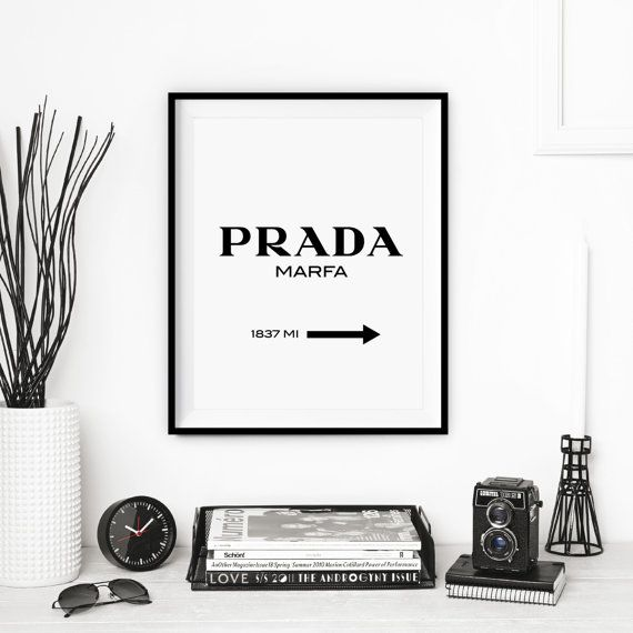 "Typography displays ""Prada"", Art Print gift for Fashionista, bedroom, Decor Vogue patterns Fall posters"