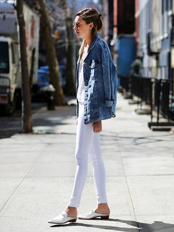 An oversized jean jacket adds the perfect finishing touch to an all-white look // #streetstyle