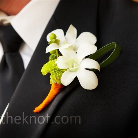 White orchid, green, and orange boutonniere | Green and ...