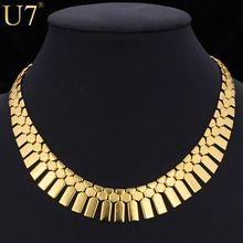 Joyería africana Collar Babero Mujeres Platinum/18 K Oro Verdadero Plateado Borlas Al Por Mayor Gargantilla Collar Collar Llamativo U7…