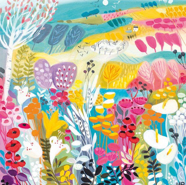 'Festival of Blooms' by Painter Natalie Rymer. Blank Art Cards By Green Pebble. www.greenpebble.co.uk