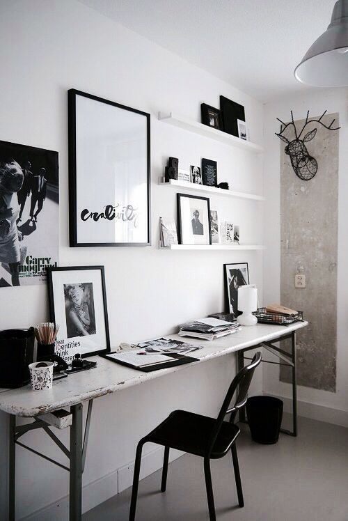 Black and white office.