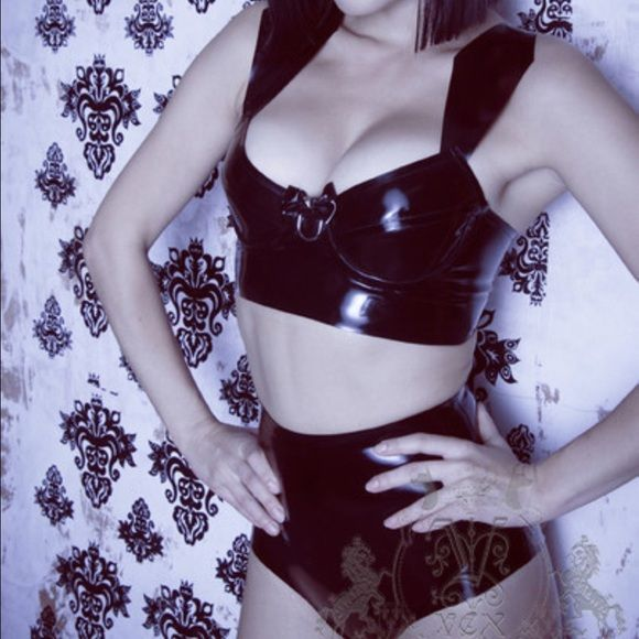 Vex Clothing 2 Piece Latex Outfit Vex Clothing 2 Piece Black Latex Outfit - Arrow Bra and High Waisted Bottoms. Both were worn once and are in excellent condition!! Top and Bottoms are Size Small. Vex Clothing Intimates & Sleepwear