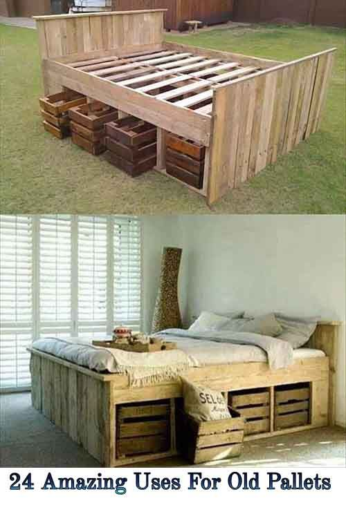 Love this bed! But with a little higher of a headboard!  24 Amazing Uses For Old Pallets