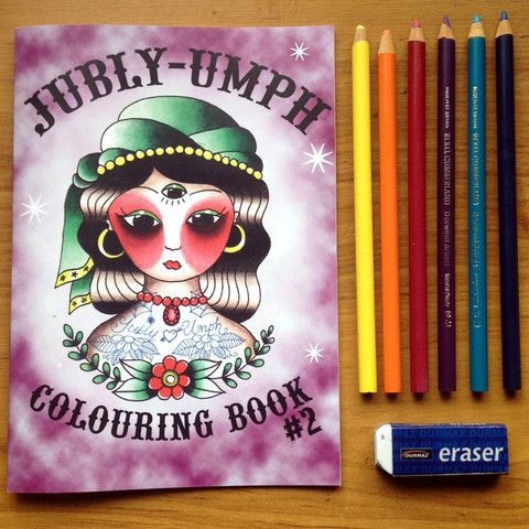 Our second colouring book! Hurrah. Filled with curious cats, mysterious rabbits, sailing ships, skulls and babushka dolls... only $9.99 www.jubly-umph.com