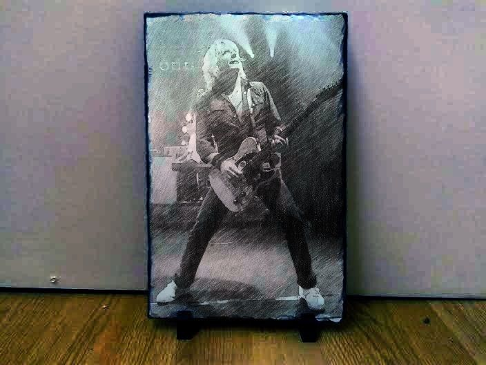 "Rick Parfitt Quo Sketch Art Portrait on Slate 12x8"" Rare memorabilia Collectable"