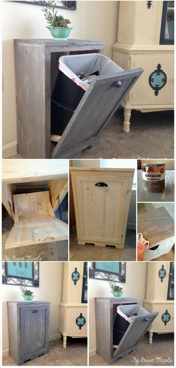 Wood Tilt-Out Trash Can Cabinet #homedecor