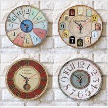 Горячая распродажа настенные часы цифровой ретро старинные мода деревенский потертый шик внутренних дел Livingroom бар украшения 4 стиль(China (Mainland))