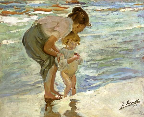 """Mother and Child on the Beach,"" Joaquin Sorolla y Bastida  #art  #children  #seascape"