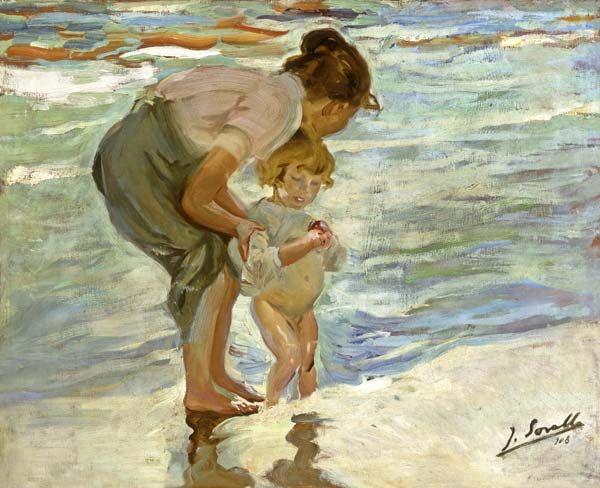 Joaquin Sorolla-Madre e hijo en la playa